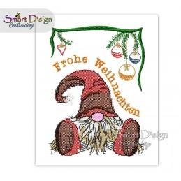 Weihnachtswichtel Frohe Weihnachten Kreuzsstich 13x18 cm