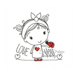 LOVE YOU Sketch Applique Girl 4x4 inch