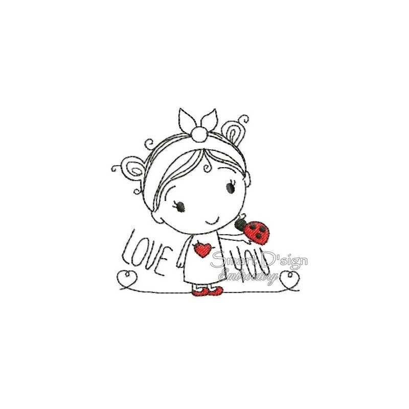 LOVE YOU Sketch Applique Girl 4x4 inch