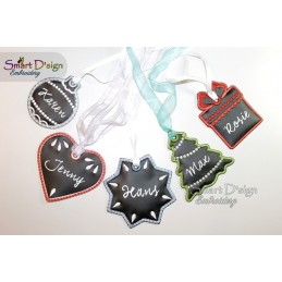 ITH 5x Christmas Tags Chalk Cloth 4x4 inch