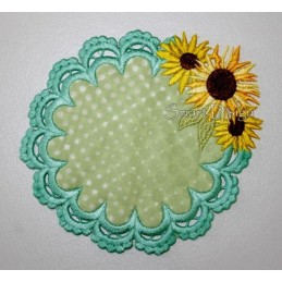 ITH Sunflower Laced Coaster 3 sizes