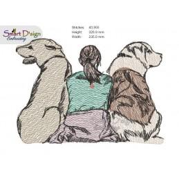 ADOPTED - DOG FRIENDS Doodle & Light Fill Motif