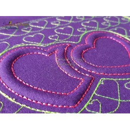 3D FOAM Embroidery Double Hearts 4x4 inch