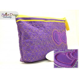 ITH ZIPPER BAG with 3D FOAM Embroidery Double Hearts