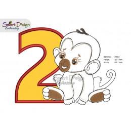 2nd BIRTHDAY JUNGLE BABIES 5x7 inch