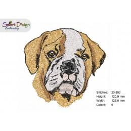 English Bull Dog Filled Stitch Design