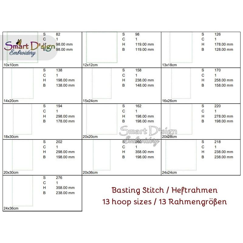 Freebie BASTING STITCH 13 Hoop Sizes