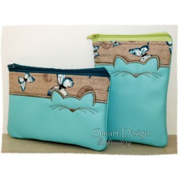ITH CAT Cosmetic Bag w. Inside Pockets