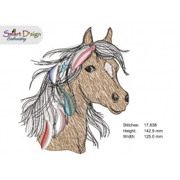MUSTANG SPIRIT HORSE with FRINGE FEATHERS