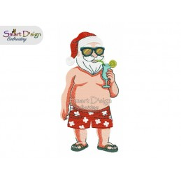 SUMMER SANTA with COCKTAIL 5x7 inch