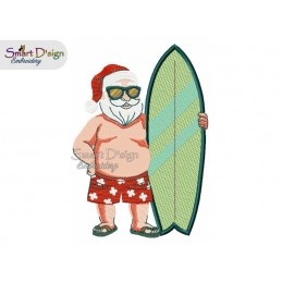 SUMMER SANTA with SURFBOARD 5x7 inch