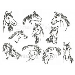 10 x Horses Outlines 4x4 inch
