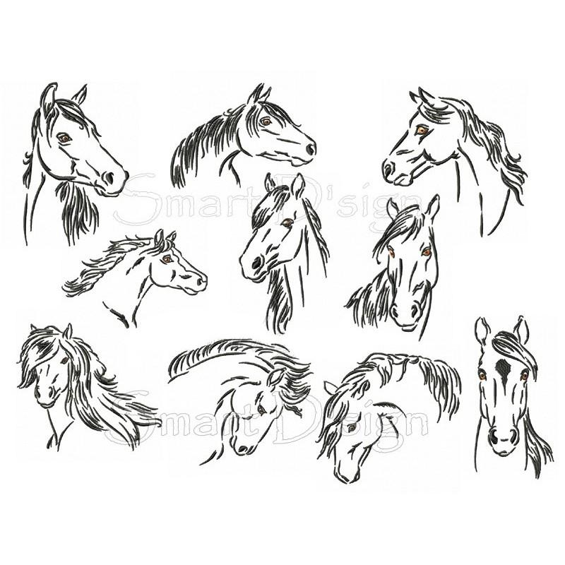 10 x Pferde Skizzen 10x10 cm