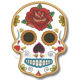 Flower Power Sugar Skull Applikation 13x18 cm