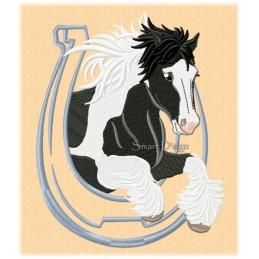 Springender Irish Tinker - Gypsy Horse 13x18 cm