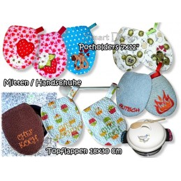 "Mega Set Potholder Mitten 7x12"" & Handle Cover 4x4"""