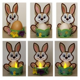 Easter Bunny Egg & Tea Lights Set 5x6 inch
