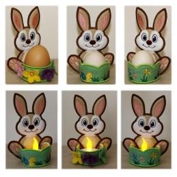 Oster-Eier Hasen & Teelicht Set 13x15 cm