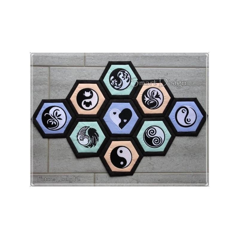 9 x Ying Yang Motifs 4x4 inch