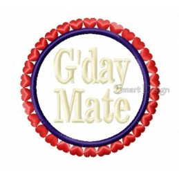 G'day Mate Badge Hearts 4x4 inch