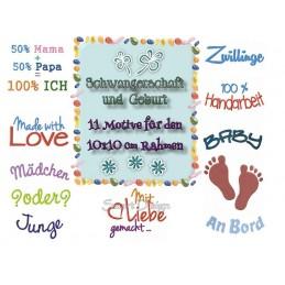 11 Schwangerschafts-Motive 10x10 cm