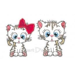 2x Kitty Sweethearts Katzen Applikationen 12x12 cm