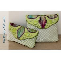 ITH 2x Einfache Quilt Taschen Blumen-Application 13x18 cm