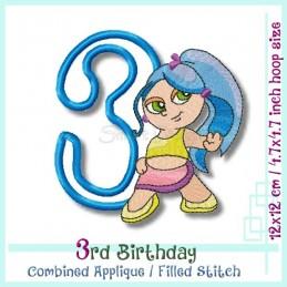 3rd Birthday Hipp Hopp Girl 1 4.7x4.7 inch