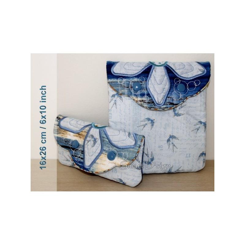 ITH 2x Einfache Quilt Taschen Blumen-Application 16x26 cm