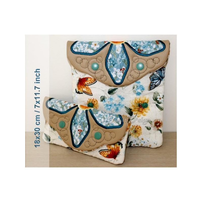 ITH 2x Einfache Quilt Taschen Blumen-Application 18x30 cm