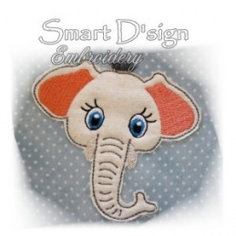 Elephant Applique with Fringed Mane 4x4""