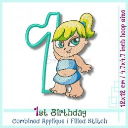 1st Birthday Hipp Hopp Girl 2 4.7x4.7 inch