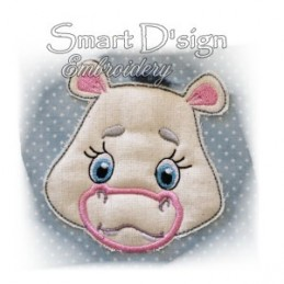 Hippo Applique with Fringed Mane 4x4""