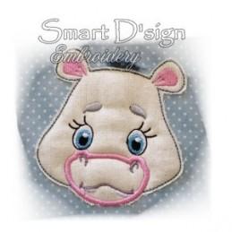 Nilpferd Hippo Applikation mit Fransen-Mähne 10x10 cm