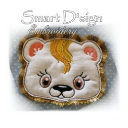 Lion Leo Applique with Fringed Mane 4x4""