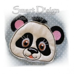 Panda Applique with Fringed Mane 4x4""