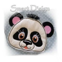 "Panda Applique with Fringed Mane 4x4"""