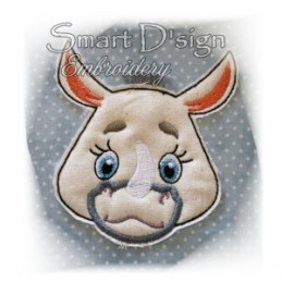 Rhino Applique with Fringed Mane 4x4""