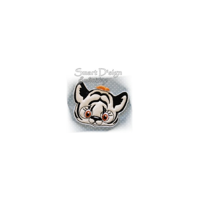 """Tiger Applique with Fringed Mane 4x4"""""""