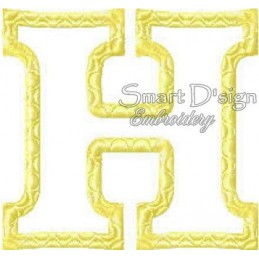 """Alphabet DANNY - Letter H Applique 4x4"""""""