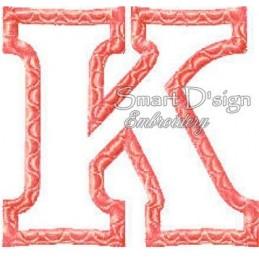 """Alphabet DANNY - Letter K Applique 4x4"""""""