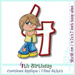 4th Birthday Hipp Hopp Girl 2 4.7x4.7 inch