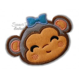 Monkey Girl Applique 4x4""