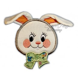 Bunny with 3D Ears Applique 4x4""