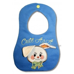 """ITH Baby Bib Bunny with 3D Ears Applique 7x12"""""""