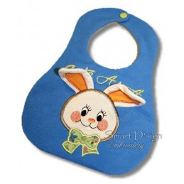 ITH Baby Bib Bunny with 3D Ears Applique 7x12""