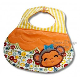 ITH Baby Bib with Monkey Applique 6x10""