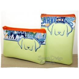 ITH 2x Hund Silhouette RV-Tasche mit Futter 13x18 cm
