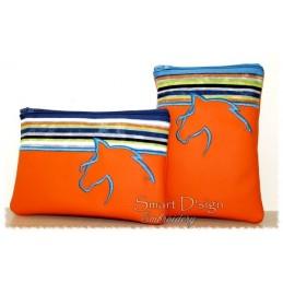 ITH 2x HORSE Silhouette Zipper Bag 5x7 inch