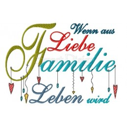 FAMILIE Romantischer Dangle Spruch 13x18 cm